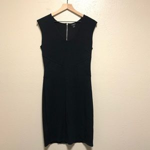 Ann Taylor black heavy knit dress exposed zipper